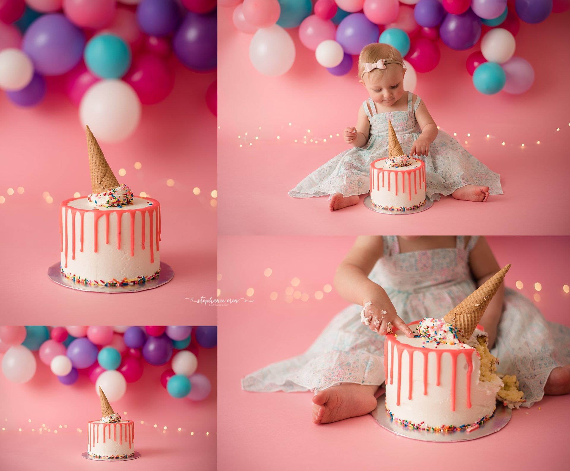Ellie's Ice Cream Cake Smash Session | Stephanie Erin Photography | St George Utah Newborn Photographer