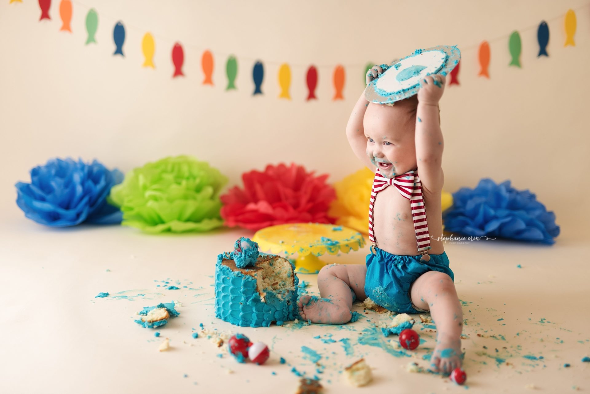 Cohen's O-FISH-ALLY ONE Cake Smash Photography Session | St George, Utah + Southern Utah Newborn Photography Studio | Stephanie Erin Photography